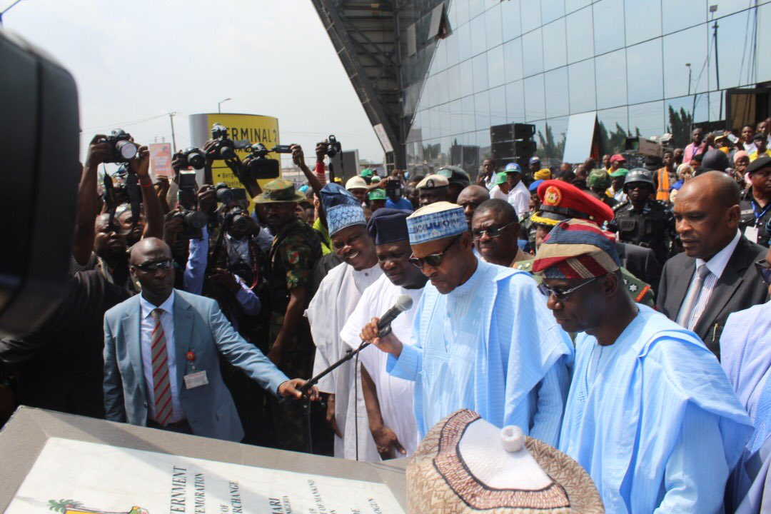 Buhari returns to Abuja after commissioning projects in Lagos