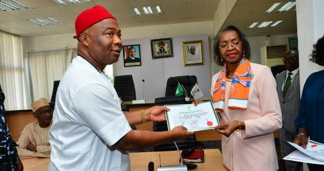 Uzodinma receives Certificate of Return from INEC, commends 'functional Judiciary'